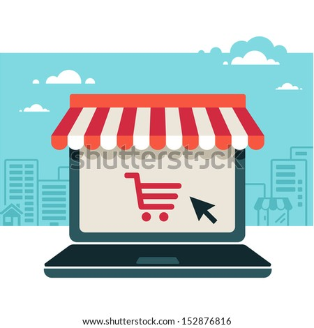 On line store. Sale, Laptop with awning