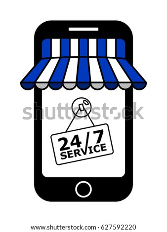 on line store with blue and