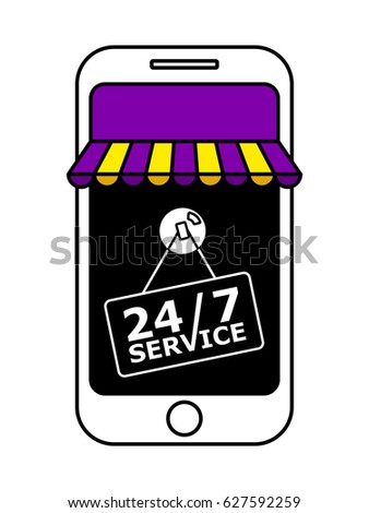 on line store with purple and