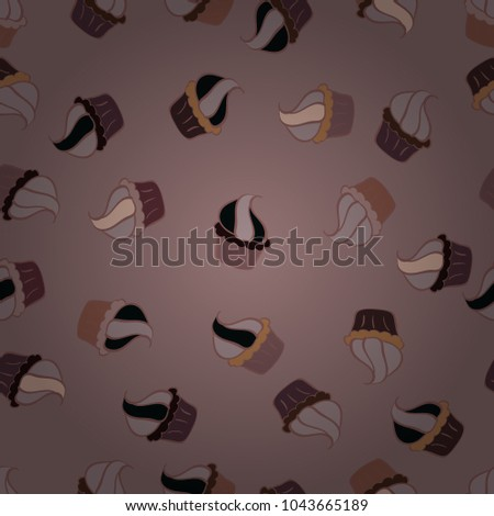 On pink, gray and brown. Cakes seamless pattern collection. Of different types of beautiful modern cakes, such as chocolate cake. Vector illustration. #1043665189