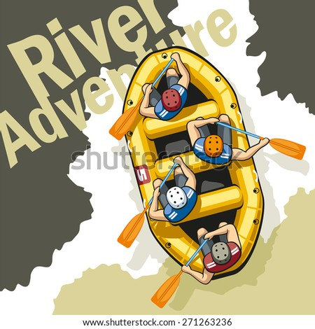 On rough mountain river in a yellow inflatable boat rafting sit four men in helmets and life jackets. People are holding paddles and work together.