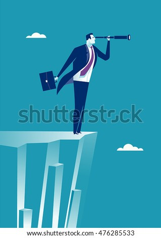 On the Edge. Illustration of businessman standing  on cliff edge looking through spy-glass.