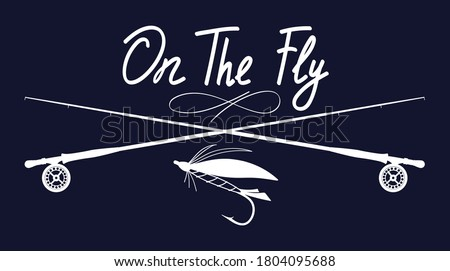 On the fly. Fly fishing illustration. Hand drawn stock vector artwork.  Сток-фото ©