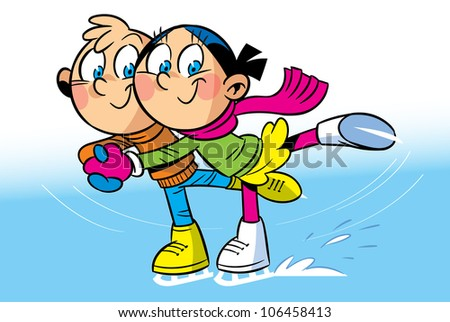 On the ice funny boy and girl riding on skate. Illustration done in cartoon style.