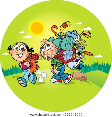 On the illustration, the children go to a camping trip on the nature. Girl goes easily with a small backpack, a boy burdened by a heavy load and he hard to walk. Illustration done on separate layers