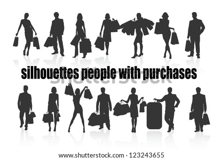 on the image silhouettes of people with purchases are presented