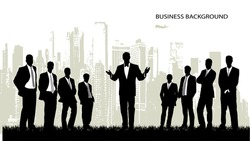 on the image the group of businessmen against the megalopolis is presented