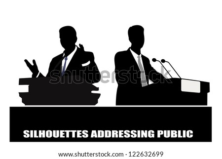 on the image the politician before a microphone is presented