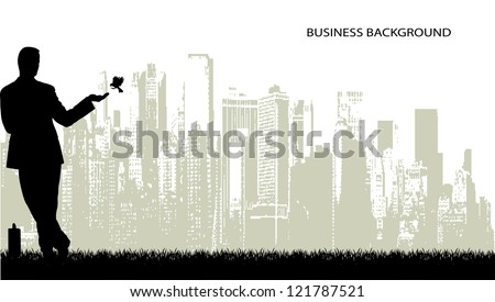 on the image the silhouette of the businessman on an abstract background is presented