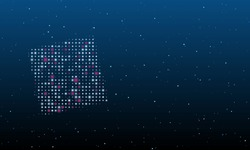 On the left is the puzzle symbol filled with white dots. Background pattern from dots and circles of different shades. Vector illustration on blue background with stars