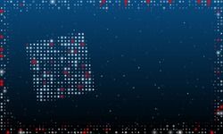 On the left is the puzzle symbol filled with white dots. Pointillism style. Abstract futuristic frame of dots and circles. Some dots is red. Vector illustration on blue background with stars