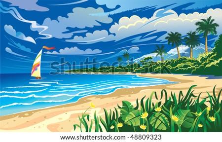 on the ocean coast seascape