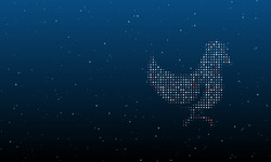 On the right is the chicken symbol filled with white dots. Background pattern from dots and circles of different shades. Vector illustration on blue background with stars