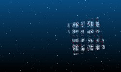 On the right is the puzzle symbol filled with white dots. Background pattern from dots and circles of different shades. Vector illustration on blue background with stars