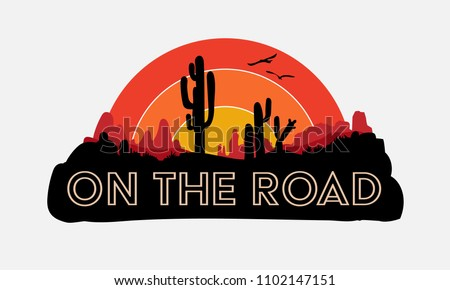 On the road, road trip, slogan, typography, graphic tee, printed design.