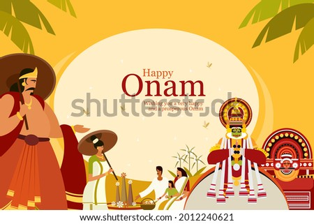 Onam festival background with King Mahabali and traditional art forms. Onam is a harvest festival in Kerala, India