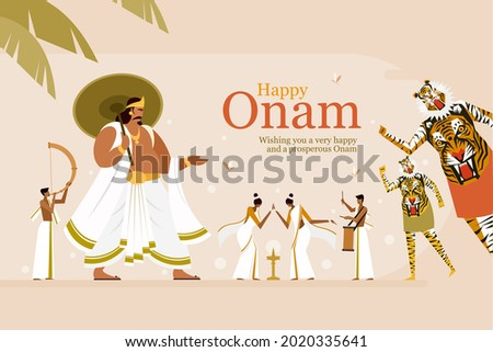 Onam festival greeting background with King Mahabali and traditional art forms. Onam is a harvest festival in Kerala, India
