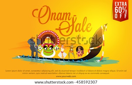 onam sale poster banner or flyer design creative illustration showing culture and tradition of