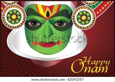 Onam wishes - Card with an Indian kathakali dancer