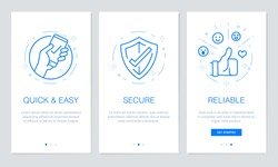 Onboarding app screens. Modern and simplified vector illustration walkthrough screens template for mobile apps.