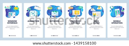 Onboarding for web site and mobile app. Menu banner vector template for website and application development. Window interface, Algorithm Network, Program settings, Data cloud, Mobile operation screens