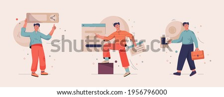 Onboarding isolated scenes set. Getting to know site or service. New employee in office. Men share useful links, create account on social networks, get early access. Vector character illustration