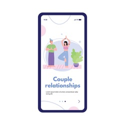 Onboarding mobile page design with couple in happy relationships bond, flat cartoon vector illustration isolated on white background. Activity for couple bonding.
