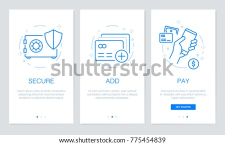 Onboarding payment app screens Modern and simplified vector illustration walkthrough screens. UI template for mobile apps, smart phone or web site banners.