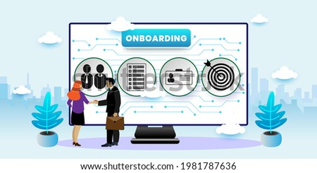 Onboarding Process Business concept. Onboarding Concept With icons. Cartoon Vector People Illustration Сток-фото ©