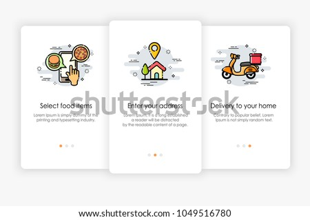 Onboarding screens design in food delivery concept. Modern and simplified vector illustration, Template for mobile apps.
