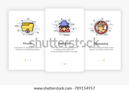 Onboarding screens design in security concept. Modern and simplified vector illustration, Template for mobile apps.
