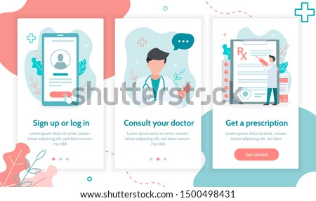 Onboarding screens template for mobile applications and websites. Medical online service for obtaining prescription. Sign up, get a doctor's consultation, get a prescription. Flat vector illustration.