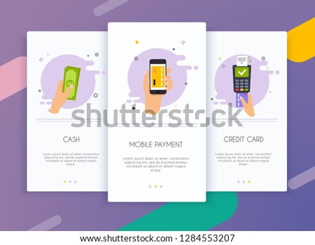 Onboarding screens user interface kit for mobile app templates concept of  payment methods. Cash, internet banking, purchasing and transaction, electronic funds transfers and bank wire transfer.
