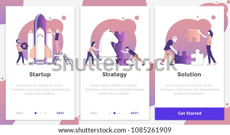 Onboarding Screens User Interface Kit. Modern user interface UX, UI screen template for mobile smart phone or responsive web site. Business theme. Vector Illustration