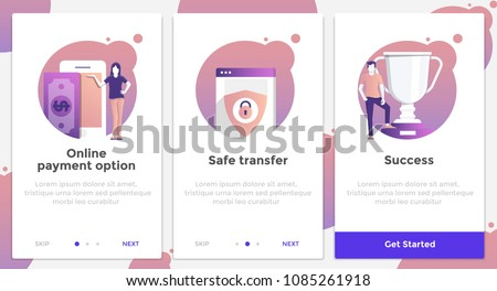 Onboarding Screens User Interface Kit. Modern user interface UX, UI screen template for mobile smart phone or responsive web site. Online Payment theme. Vector Illustration