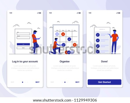 Onboarding Screens User Interface Kit. Modern user interface UX, UI screen template for mobile smart phone or responsive web site. Vector Illustration
