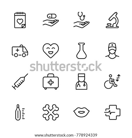 Oncology icon set. Collection of high quality black outline logo for web site design and mobile apps. Vector illustration on a white background.