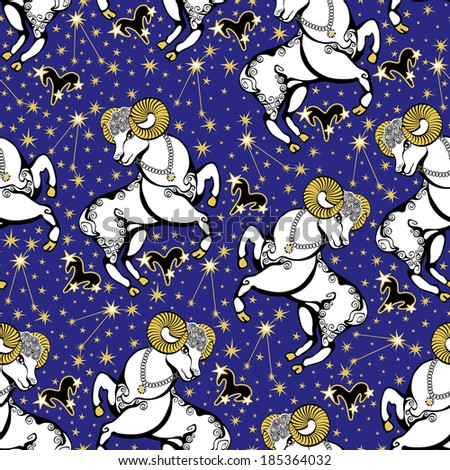 One Aries ,zodiac signs ,constellation, stars in Horoscope seamless pattern.Golden stars,white Aries on blue background.Vector background,  packing,Wallpaper, fabric. Illustration in retro style.