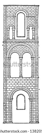 One Bay of Transept or Winchester Cathedral is the area set crosswise to the nave, It have greatest overall length of any Gothic and have a part of a monastic settlement, vintage line drawing