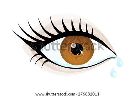 One beautiful brown color caucasian female eye wide open with eyebrow and eyelash cry. Crying eye icon, simple drawing graphic design, vector art image illustration, isolated on a white background