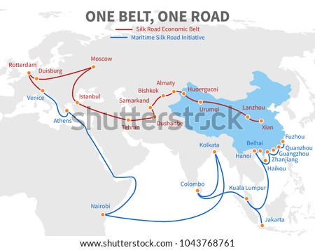 One belt - one road chinese modern silk road. Economic transport way on world map vector illustration. Transit roadmap, shipping european and eurasia distant