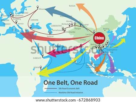 One Belt, One Road, Chinese strategic investment in the future map, vector