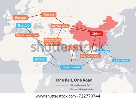 One Belt, One Road, Chinese strategic investment in the 21st century map.