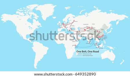 One Belt, One Road, Chinese strategic investment in the 21st century map, vector