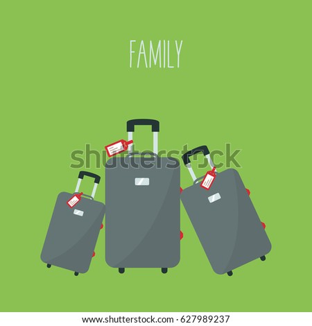 one big baggage vector for travel & two little from smallest to largest or biggest. three modern gray or grey suitcase in holiday & tag name flat design. 3 luggage in vacation & text  - family.