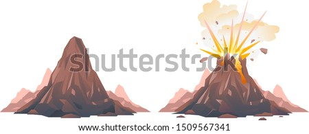 One big brown volcano with explosion and smoke, volcano before the eruption, volcano eruption of orange lava flows down the hill and stones flying in the air, isolated
