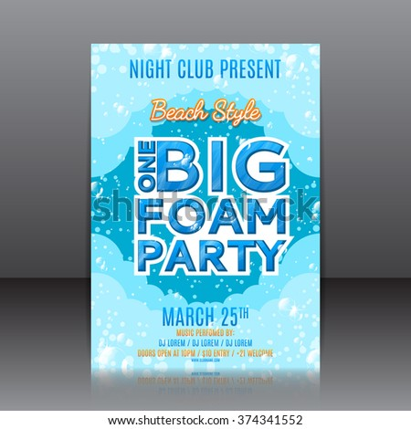 one big foam party flyer template of invitation on a foam party