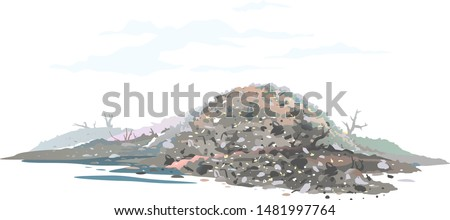 One big gray heap of trash and waste bags isolated on white, garage dump with mountains of trash and waste bags, disgusting heap of household waste, environmental pollution illustration Сток-фото ©