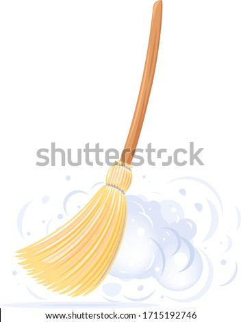 One big yellow broom sweep floor with long wooden handle and clouds of dust isolated, household implement from dust and dirt ストックフォト ©