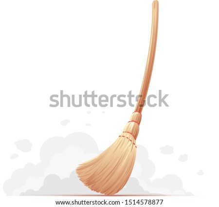 One big yellow broom sweep floor with long wooden handle isolated, household implement from dust and dirt ストックフォト ©